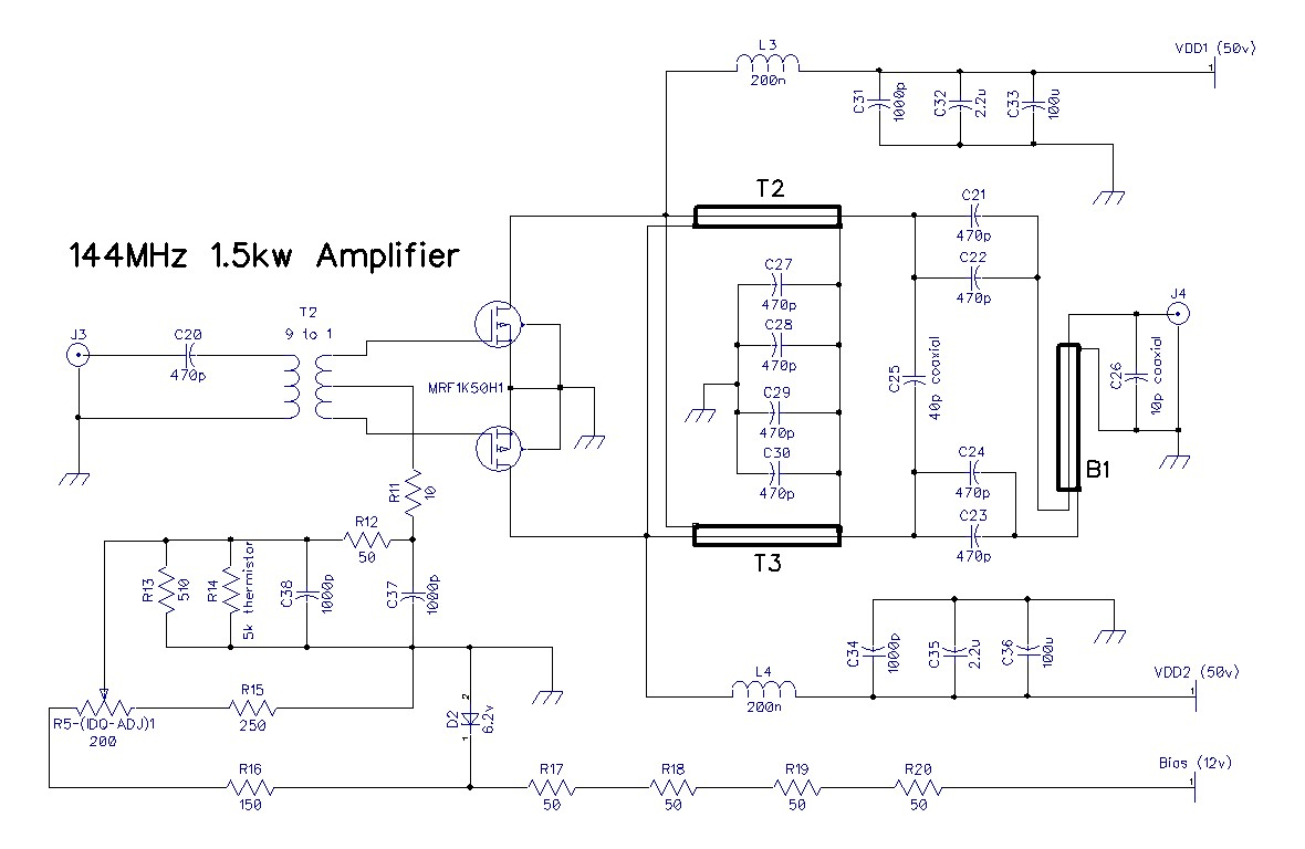 1 Kw 2m Ldmos Amplifier Transistor Circuit Design Schematic Diagram The For Rf Deck Is Here